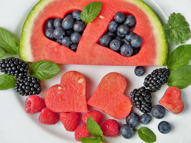 An image of watermelon and blueberries